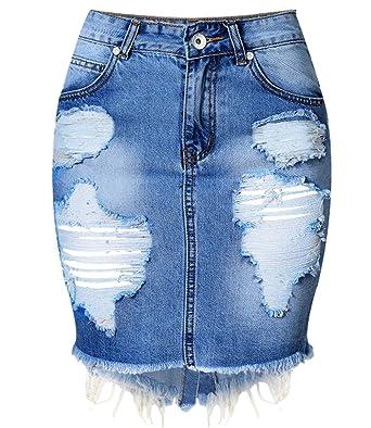 Blansdi Damen Mädchen Frauen Sommer Distressed Ripped Gewaschene Jeans  Boyfriend Rock Bleistift Boutique Knielang Dünn Denim f592019392