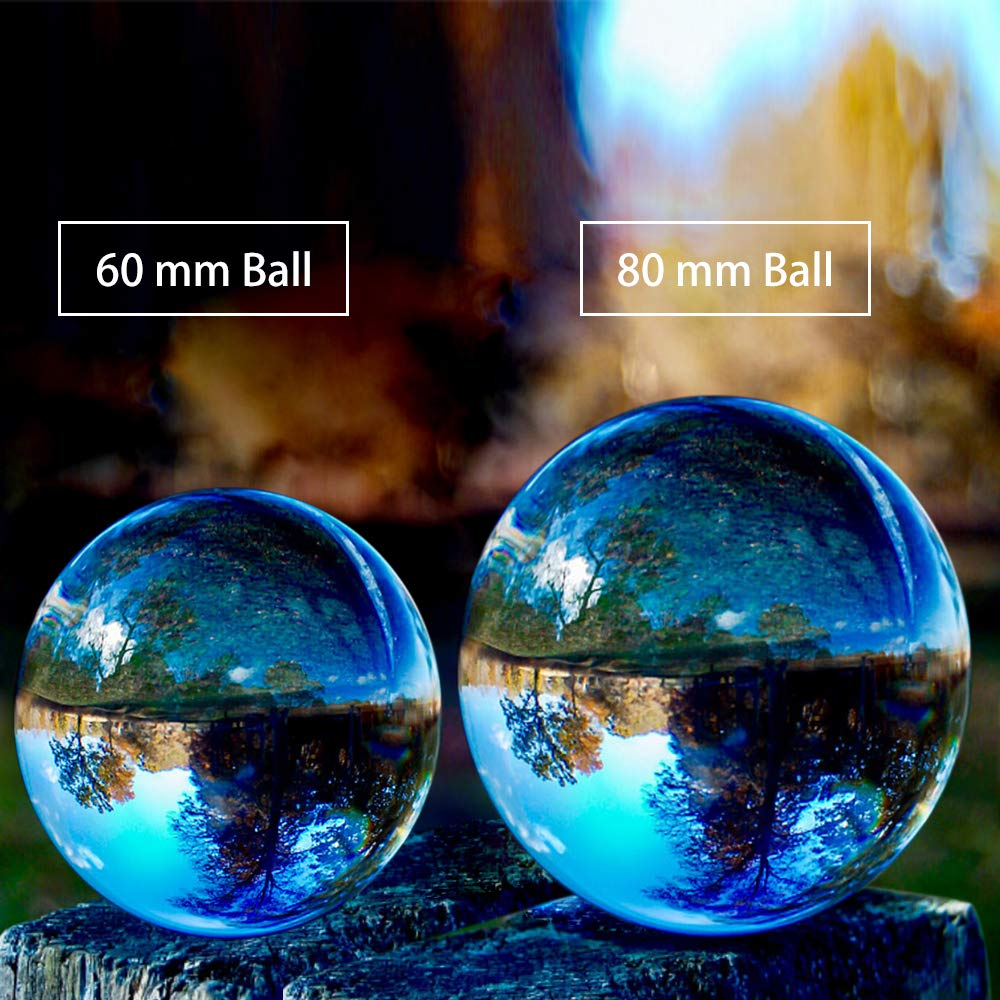SunAngel Photo Crystal Ball,Optical Glass Spheres, K9 Crystal Sphere Ball, LensBall Crystal Photography Ball (80MM+60MM +2PCS LED Crystal Stand)