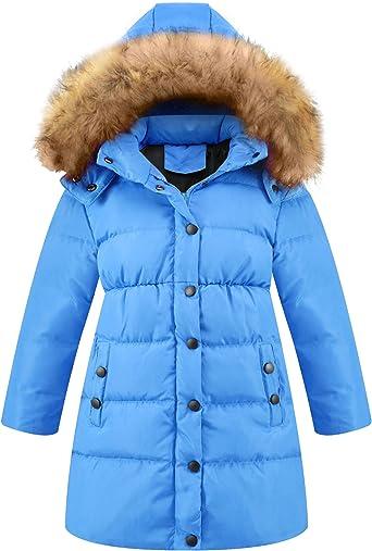 Seeduck Big Girls Winter Parka Down Coat Puffer Jacket Padded Overcoat with Fur Hood