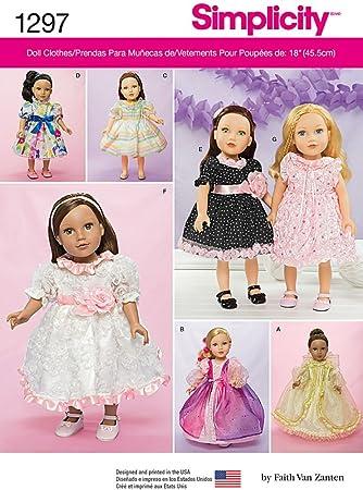 Simplicity 1297 Größe OS Kleider für 18 Puppe, Schnittmuster ...