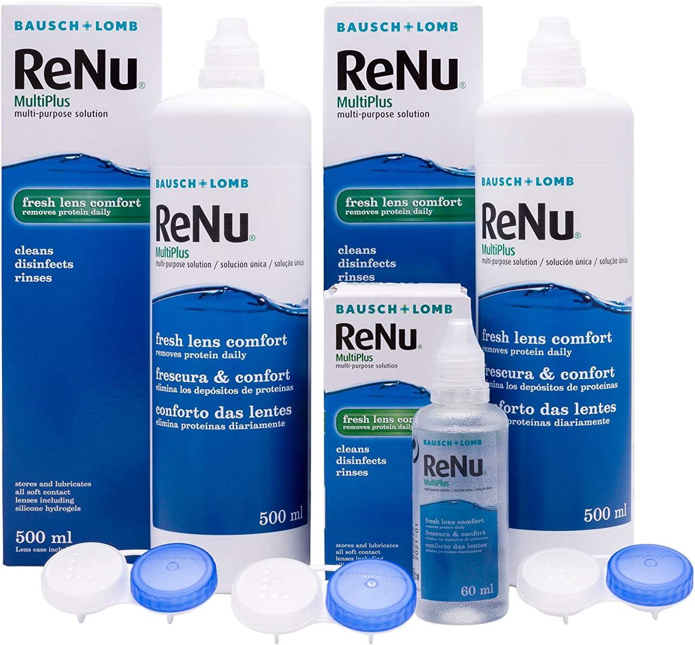 BAUSCH + LOMB - Renu® MultiPlus Solución de Mantenimiento - Pack 2 botellas x 500 ml y 60 ml de regalo