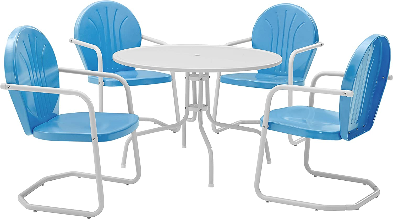Crosley Furniture Griffith 5-Piece Metal Outdoor Dining Set with Table and Chairs - Sky Blue