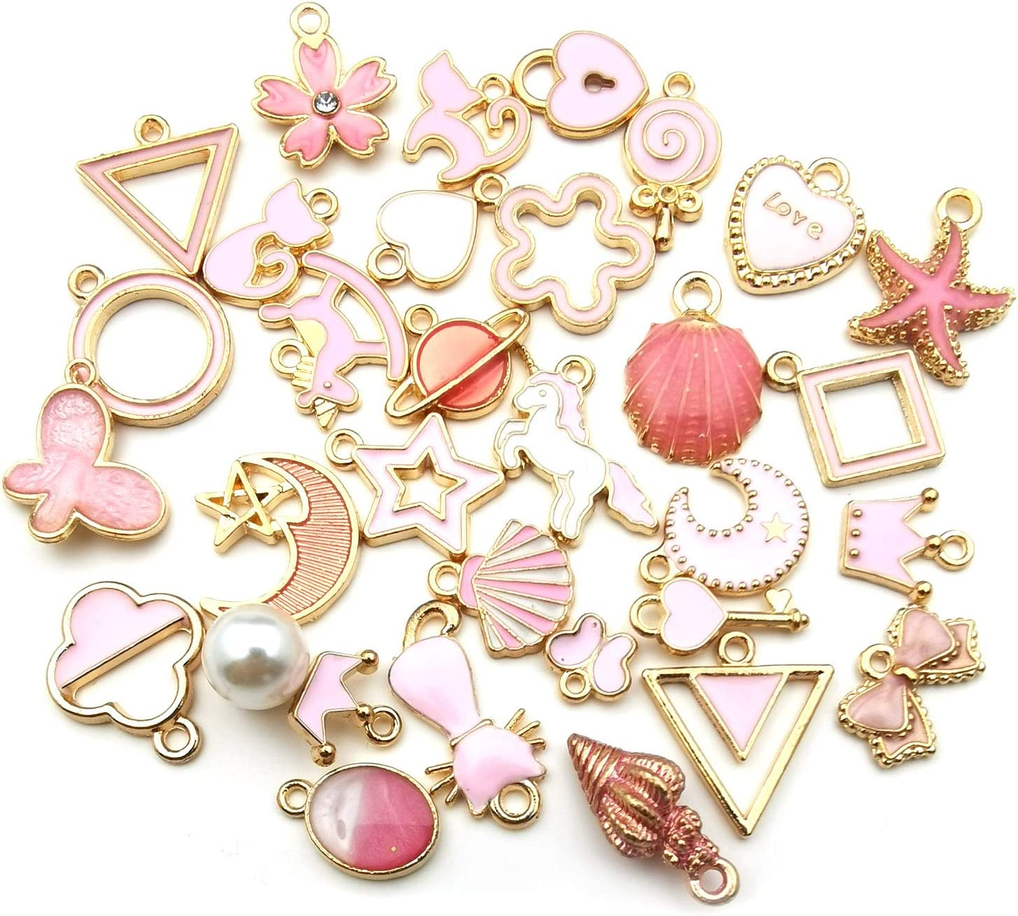 WOCRAFT 60pcs Assorted Gold Plated Pink Enamel Charm Pendant for DIY Jewelry Making Necklace Bracelet Earring DIY Jewelry Accessories Charms M347