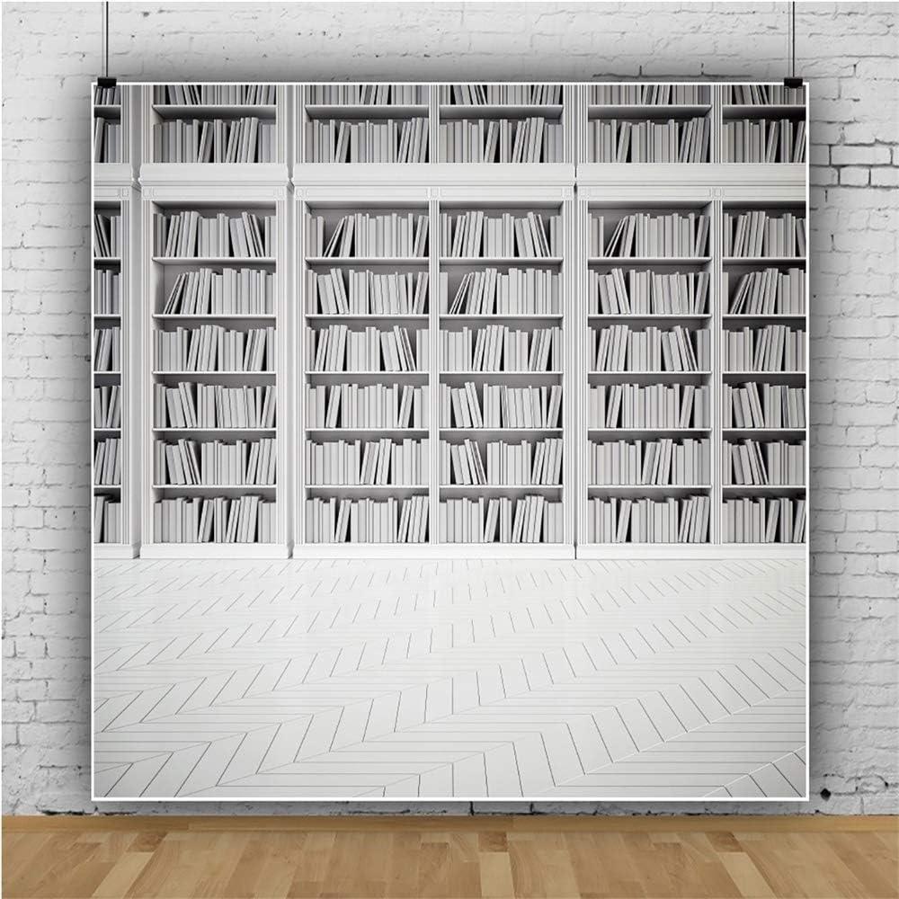 YEELE Library Bookshelf Photography Backdrop White Bookcase Wooden Floor Background 6.5x6.5ft Wedding Portrait Photo Booth Shooting Vinyl Cloth Studio Props
