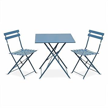 Salon de Jardin bistrot Pliable - Emilia carré Bleu grisé - Table ...