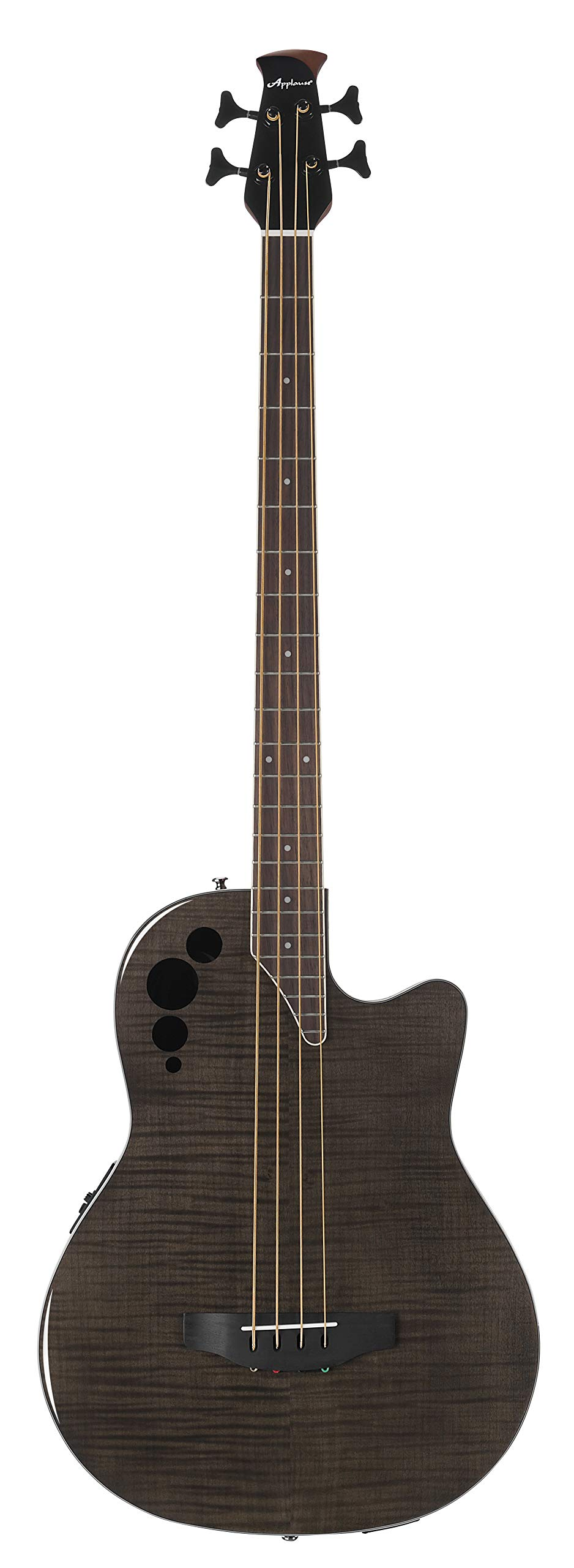 Ovation Applause 4 String Acoustic-Electric Bass Guitar, Right, Transparent Black Flame Maple (AEB4IIP-TBKF) by Ovation