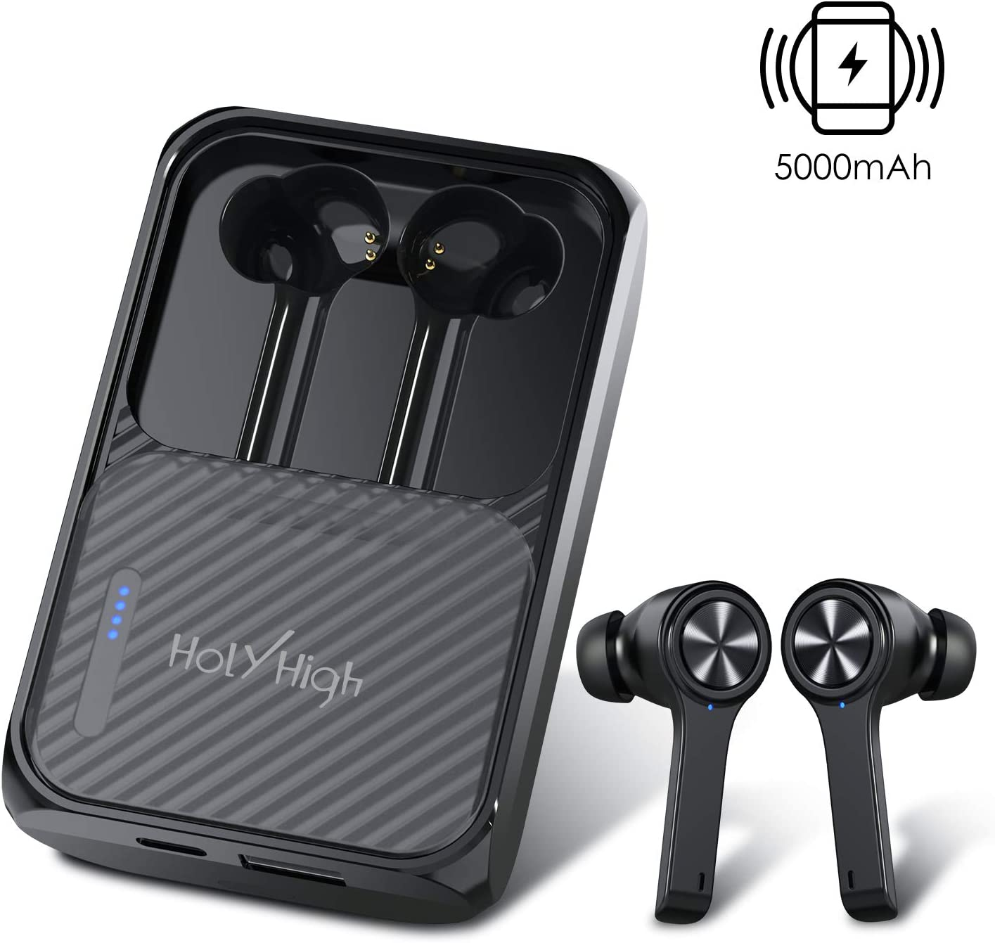 【 240H Playtime】 HolyHigh True Wireless Earbuds Bluetooth 5.0 Earphones with 5000mAh Charging Case Built-in Mic Waterproof Bluetooth Headphones with Wireless Charging Power Bank for iPhone Android