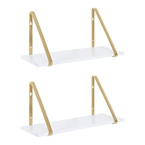 Kate and Laurel Soloman Modern Wooden Shelves, 18 inch, Set of 2, White and Gold, Contemporary Glam Wall Storage and Home Decor