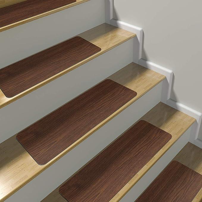 Alfombrillas Sorbus para escalera, diseño clásico de madera, antideslizantes para escalones, fácil instalación, protege escaleras de madera dura, niños, mascotas, etc. (6 unidades): Amazon.es: Bricolaje y herramientas