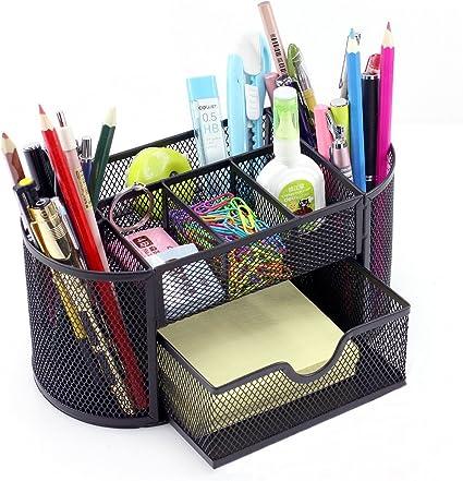 Organizador de escritorio, de Vonimus, juego organizador específico de malla de metal, soporte para lápices, color negro: Amazon.es: Oficina y papelería