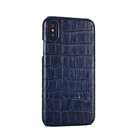 quality design 05eb9 fd0af Genuine Leather Protective Case Back Leather Cover With Crocodile Pattern  For Apple iPhone X 5.8 (Navy Blue)
