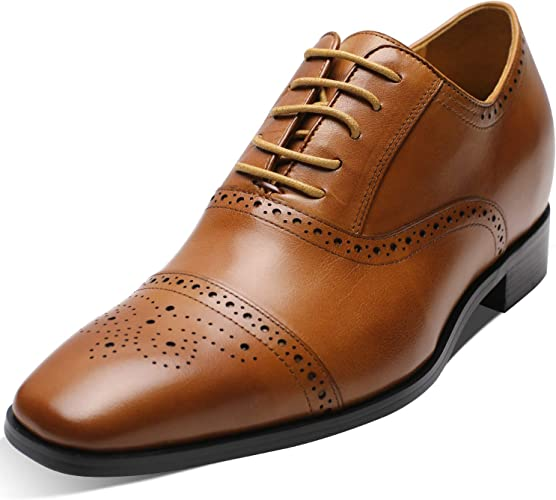 CHAMARIPA Men's Invisible Height Increasing Elevator Shoes Black Oxford Dress Shoes Calfskin Leather 2.76 Inches Taller K6531 1