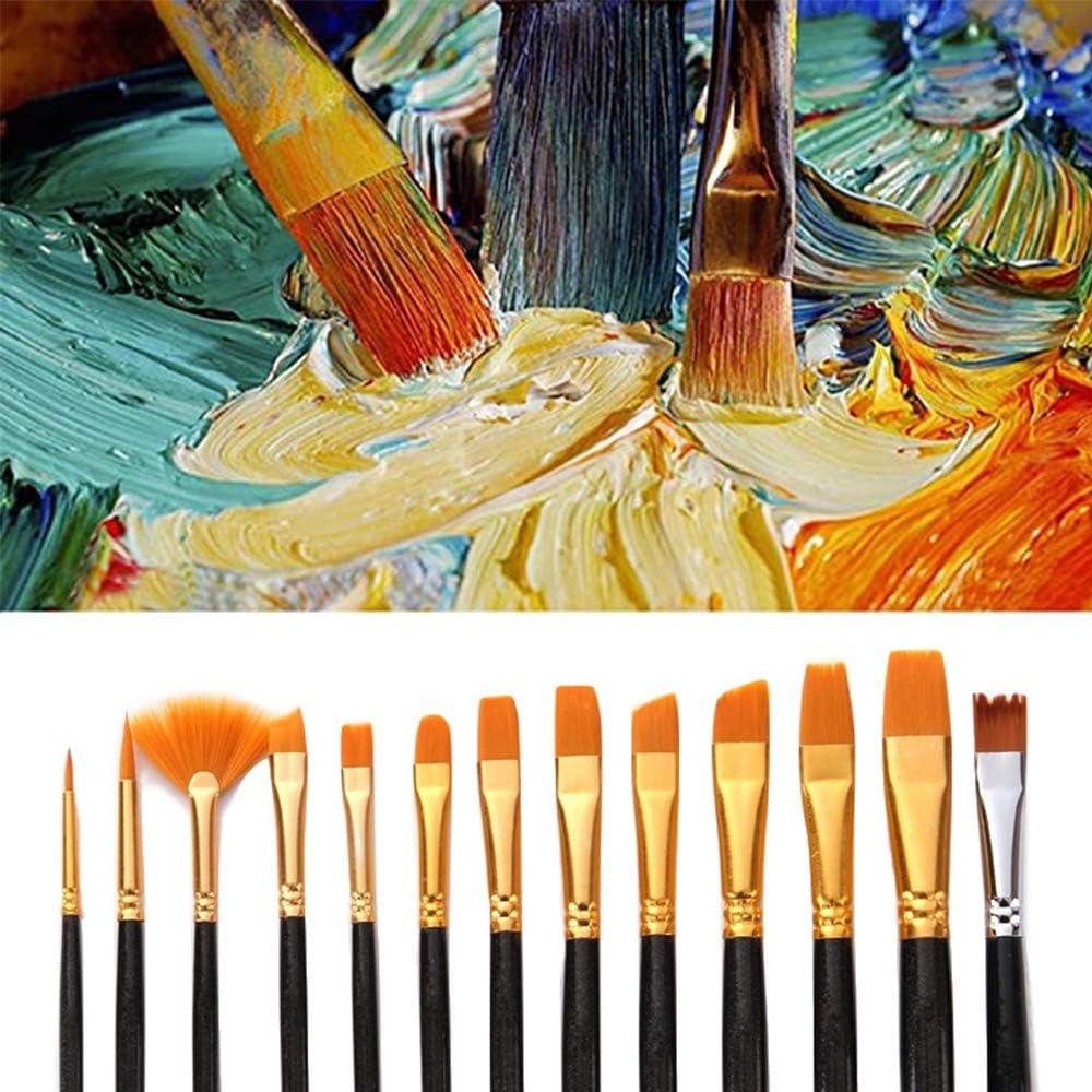 Guanici Pennelli dipingere sintetici Pennelli di Nocciola Pennelli a ventaglio da pittura Pennello artista pennello in miniatura Per adolescenti principianti bambini artisti di disegno Set da 13 pezzi
