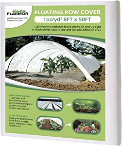 FLARMOR Floating Row Cover - 8x50 ft Fabric Blanket- Protects Outdoor Plants and Vegetables from Frost 1oz, Sun, and Insects- Freeze Protection- Covers Outdoor Plants Against Harsh Weather