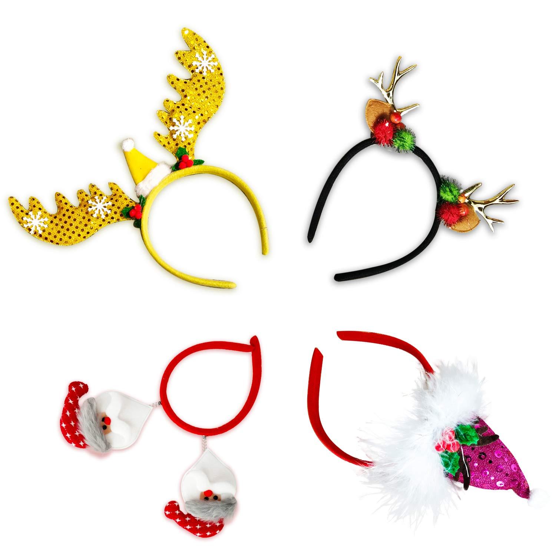 TBSDQLTEV 4 Piezas de Diademas navide/ñas astas de Reno de Santa Claus /árboles de Navidad para Vacaciones de Navidad decoraci/ón de a/ño Nuevo