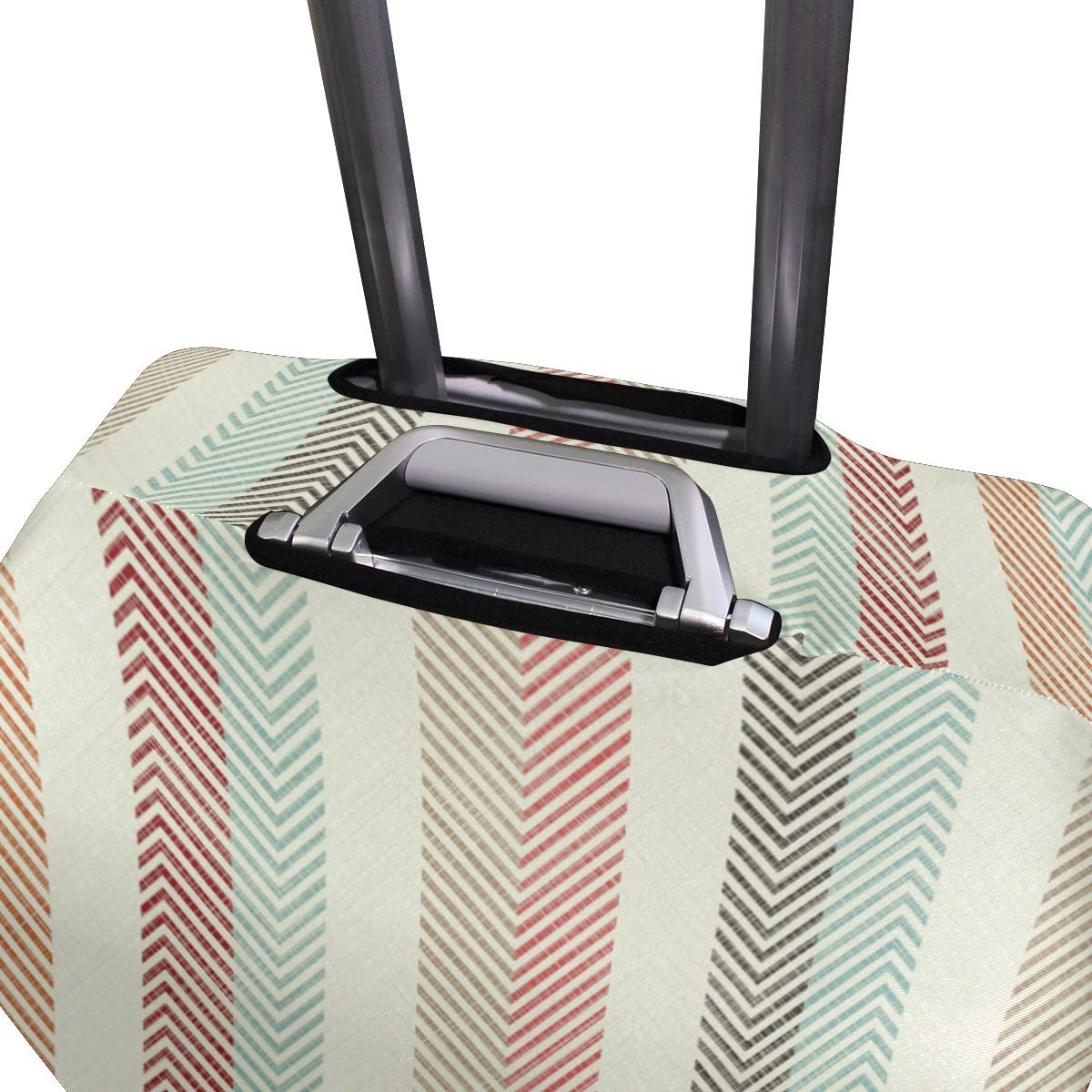 Travel Luggage Cover Abstract Colorful Striped Pattern Red Green Suitcase Protector