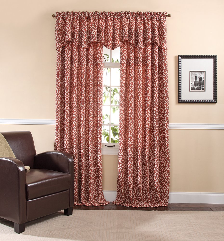 Pewter 55 by 17-Inch Stylemaster Twill and Birch Bryce Chenille Scalloped Valance with Cording