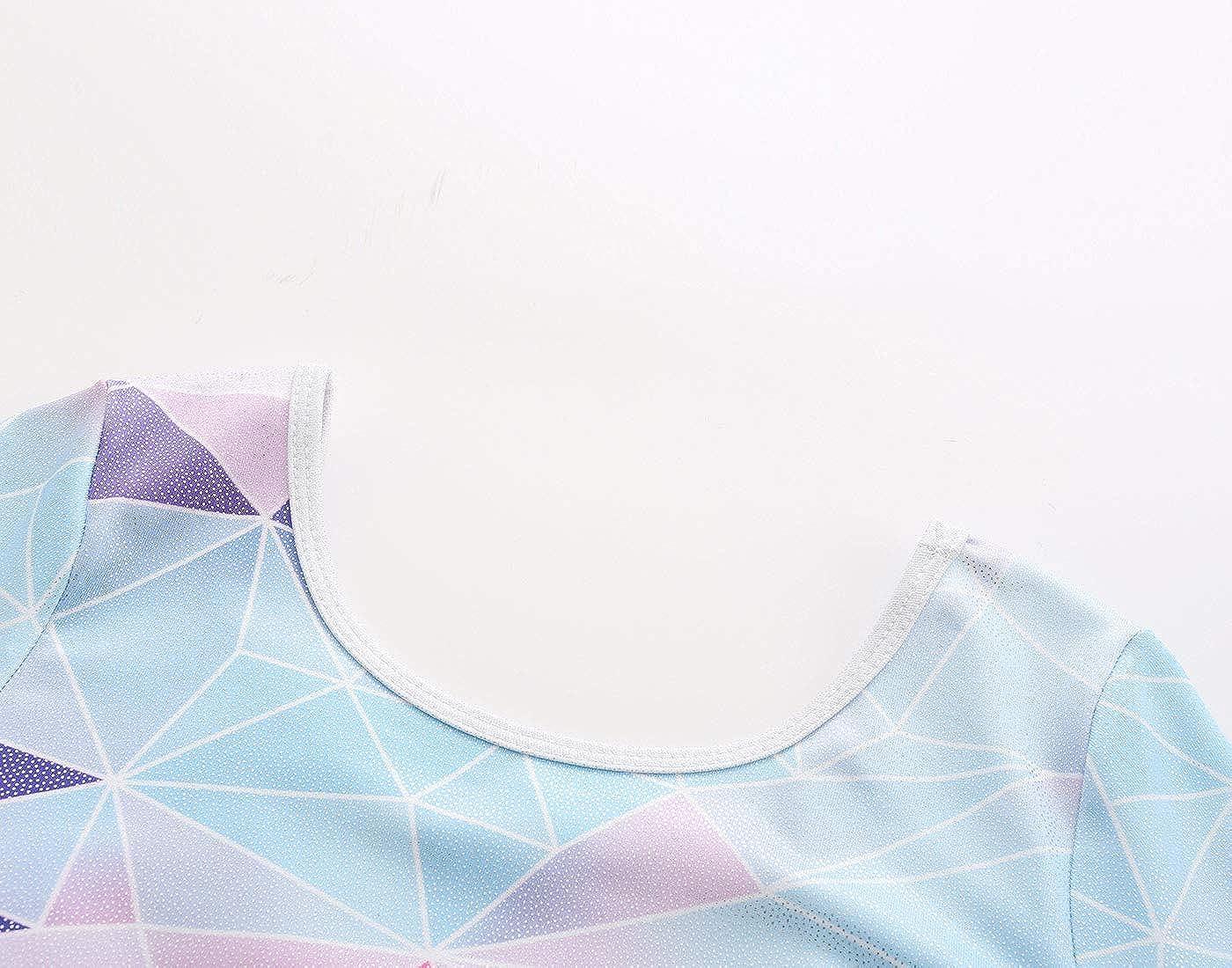 Size 14:13-14Years, Geometric-B Happy Cherry Leotard for Kids Gymnastics Long Sleeve Ballet Bodysuit Sparkly Stripe Jumpsuit Athletic Dancewear