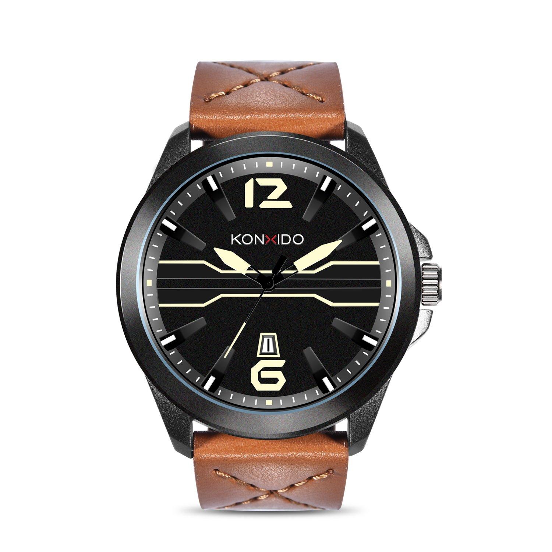 KONXIDO Men Fashion Sport Quartz Watches with Date Display, Brown Leather Strap