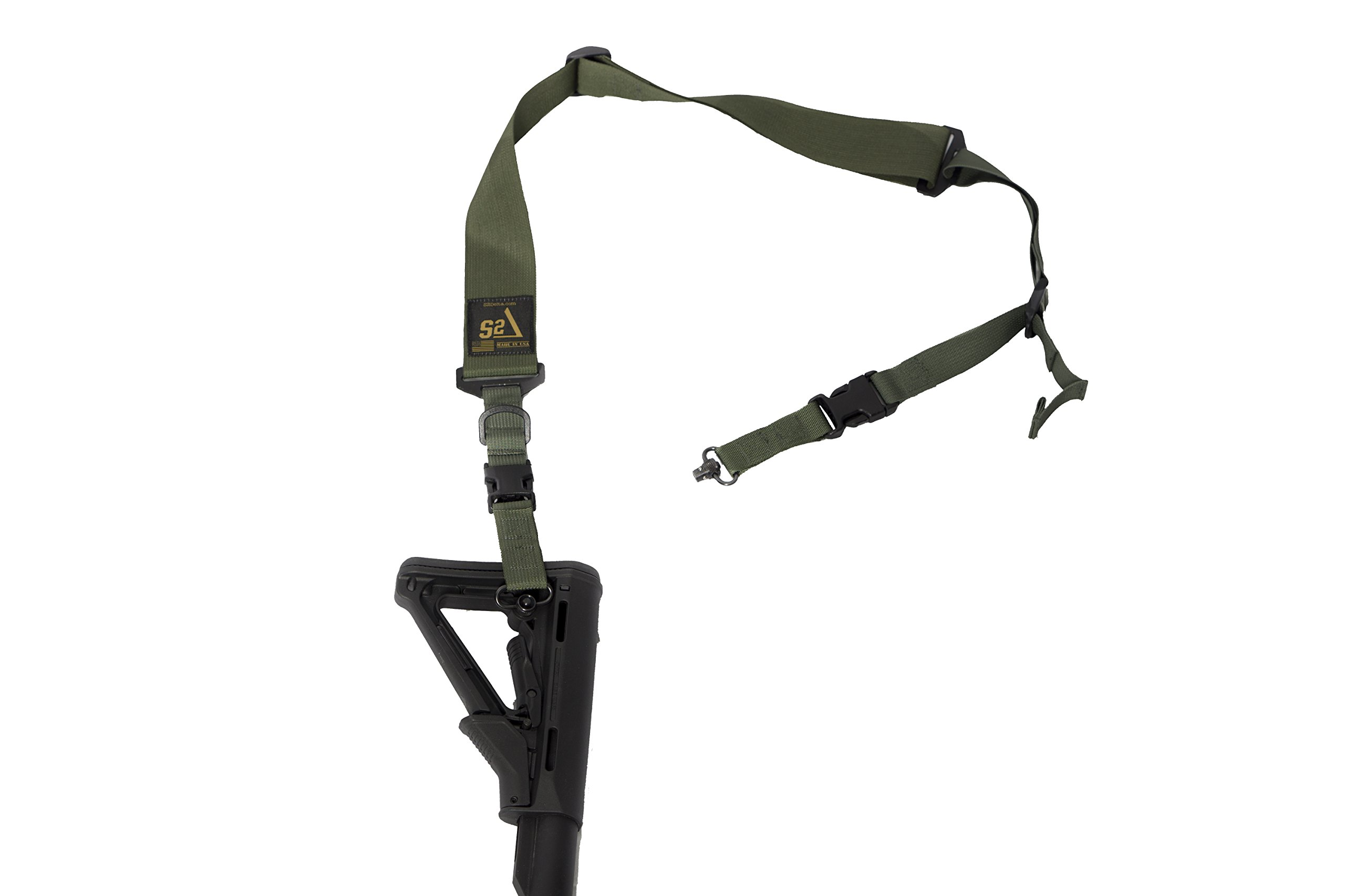 S2Delta - USA Made 2 Point Rifle Sling, Quick Adjustment, Modular Attachment Connections, Comfortable 2'' Wide Shoulder Strap to 1'' Attachment Ends (Green with Push Button Swivels) (MRS2P-USA-GPB) by S2Delta