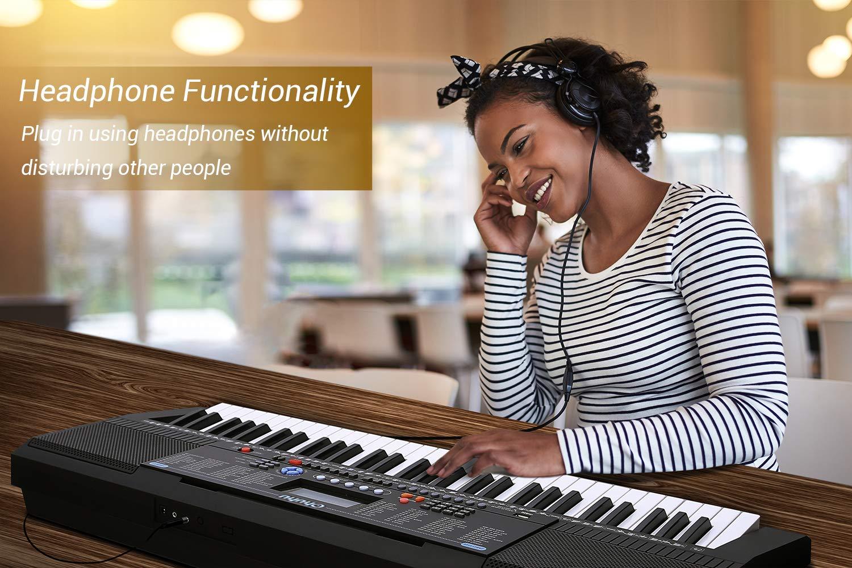 Electric Keyboard Piano 61-Key, Ohuhu Digital Musical Piano Keyboard with  Headphone Jack, USB Port & Teaching Modes for Beginners