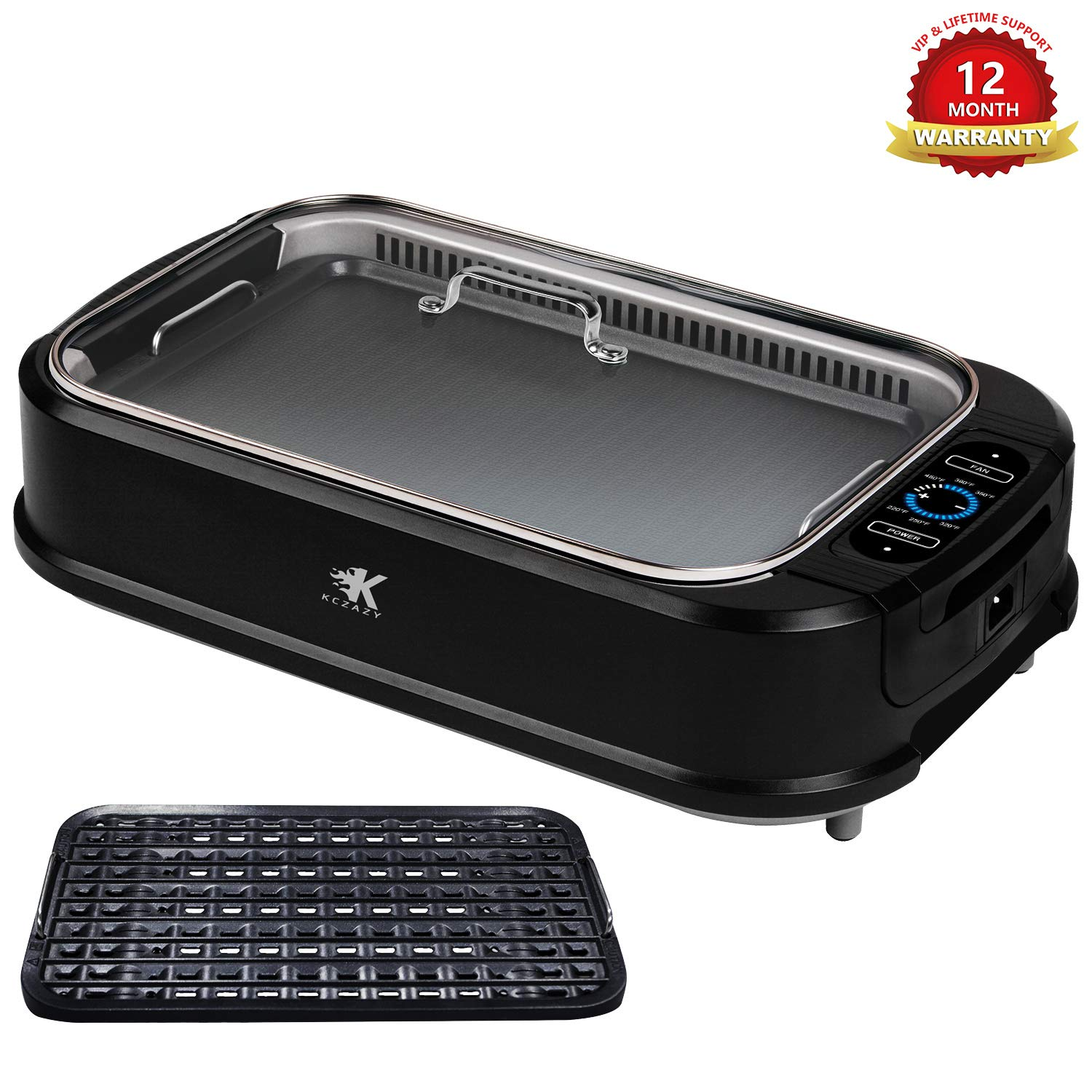 KCZAZY Electric Smokeless Grill with Glass Lid, Indoor and Outdoor Use, Portable BBQ Grilling & Searing, Grill Grate and Griddle Plate Removable, Dishwasher Safe (VIP Support) Gift Box by KCZAZY