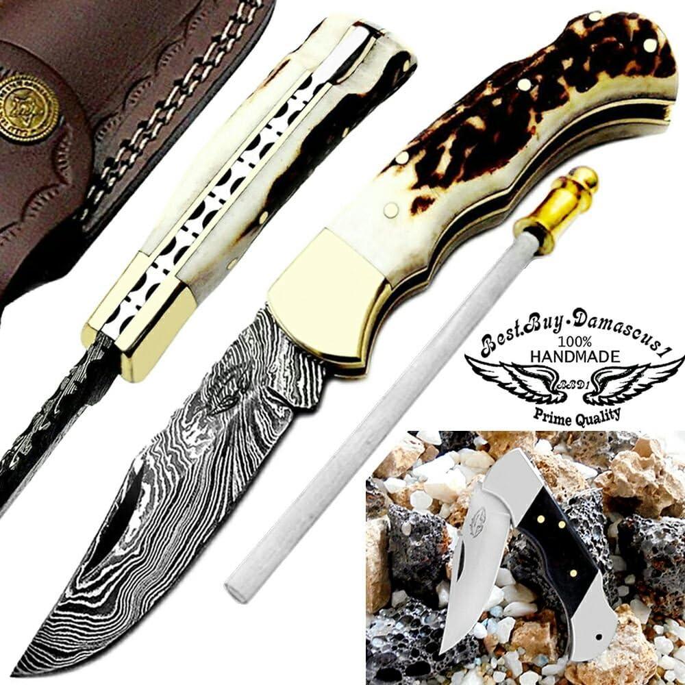 Pocket Knife 6.5 Stag Horn Damascus Steel Knife Brass Bloster Back Lock Folding Knife Real Horn Handel Damascus Knife Sharpening Rod Pocket Knives 100 Prime Quality Buffalo Horn SmallPocket Knife