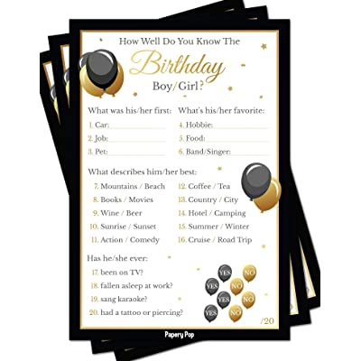 Birthday Games - How Well Do You Know The Birthday Boy or Girl (Pack of 50): Toys & Games