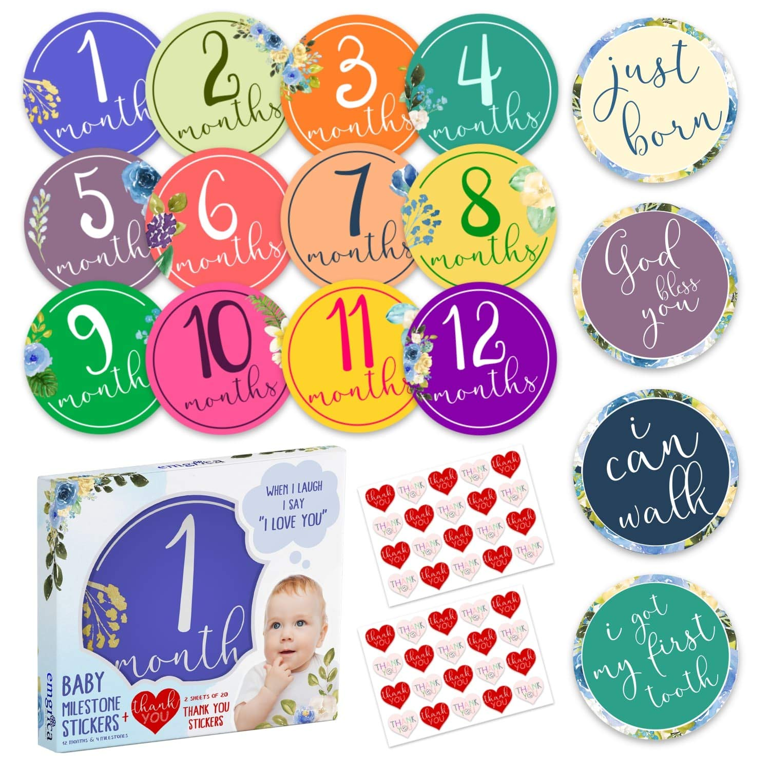 Baby Monthly Milestone Stickers Unisex - Great for Baby Shower Girl and Boy with Gift Packaging 4 Newborn Milestones with 40 Heart Thank You Stickers - Designed for Beautiful Memories Together