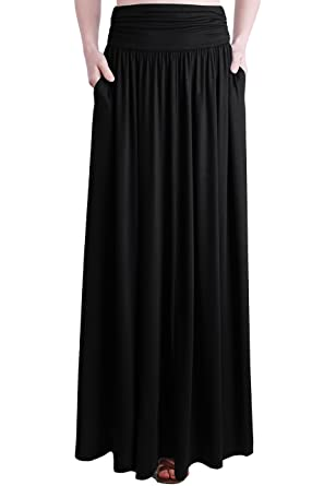 46605d186f TRENDY UNITED Women's Rayon Spandex High Waist Shirring Maxi Skirt with  Pockets (BLK, Small