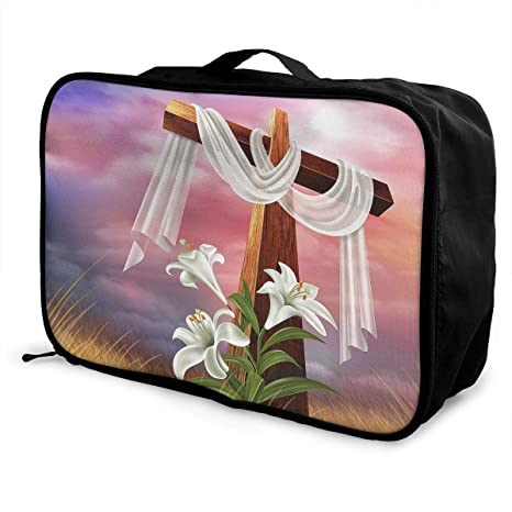 91389a0d618f Amazon.com: Charm Trend Easter Cross White Lily Lightweight ...