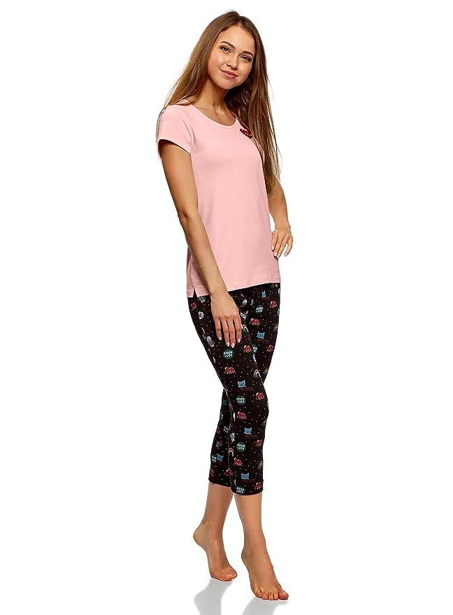 oodji Ultra Mujer Pijama de Algodón con Pantalones Piratas Estampados, Rosa, ES 38 / S: Amazon.es: Ropa y accesorios