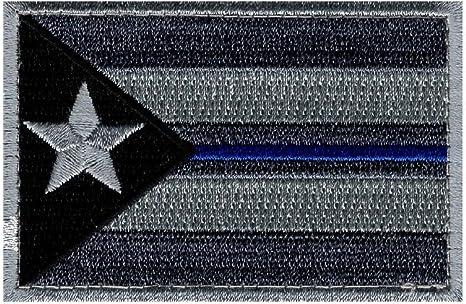 Puerto Rico Bandera Policía Fina línea azul SWAT moral ACU gancho parche: Amazon.es: Juguetes y juegos