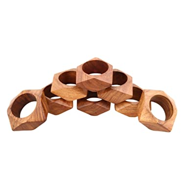 ShalinIndia Handmade Party Decor Wooden Napkin Rings Set of 8 Table Dinner Decoration