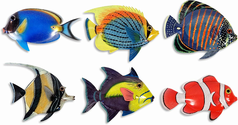 "Handpainted L-B Tropical Fish Replica Wall Mount Decor Plaque 6"" (Set of 6)"