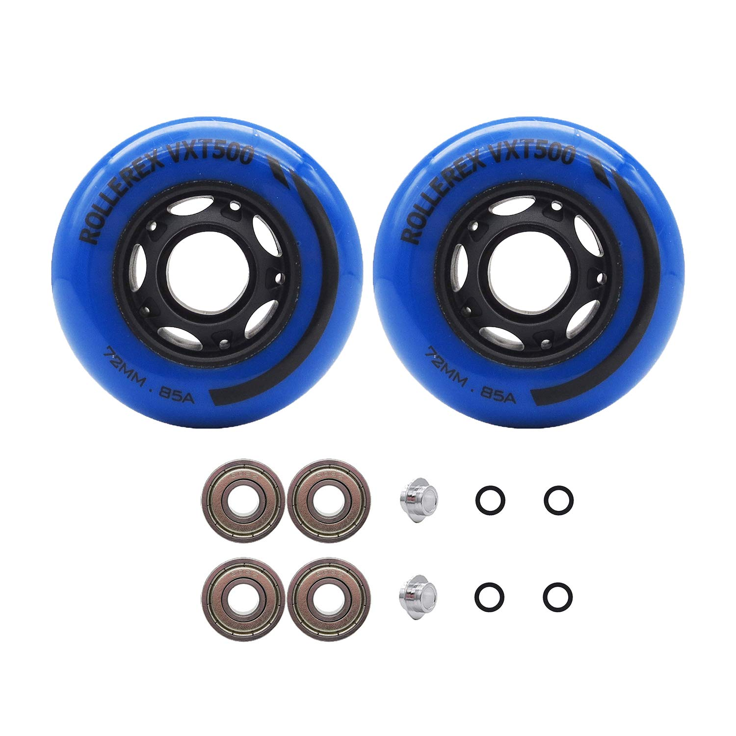 Rollerex VXT500 Inline Skate Wheels (2-Pack w/Bearings, spacers and washers) (Deep Sea Blue, 72mm) by Rollerex