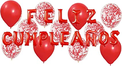 Party Pack: Feliz CUMPLEAÑOS Letter Balloons, Includes 20ct - 12