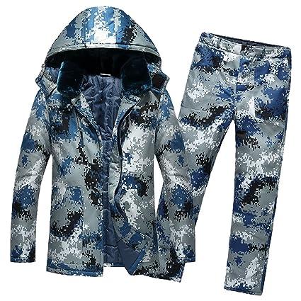 NiSeng Herren Winterjacke mit Pelzkragen Jacke Camouflage Wärmejacke + Wärme Hose Satz Militärstil Steppjacke Jacke Warm Mant