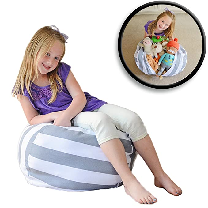 Amazon.com: Creative QT Stuff U0027n Sit   Stuffed Animal Storage Bean Bag Chair  For Kids   Pouf Ottoman For Toy Storage   Available In 2 Sizes And 5  Patterns ...