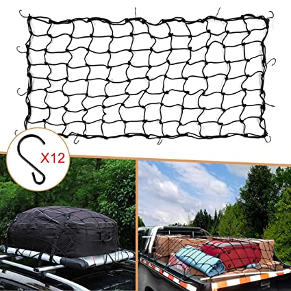 3 x 4 Heavy Duty Truck Bed Bungee Nets Stretches to 4.4 x 6 with 12 Metal Hooks for SUV ATV//UTV,RV,Truck AT055 Xcellent Global Cargo Net for Truck Bed