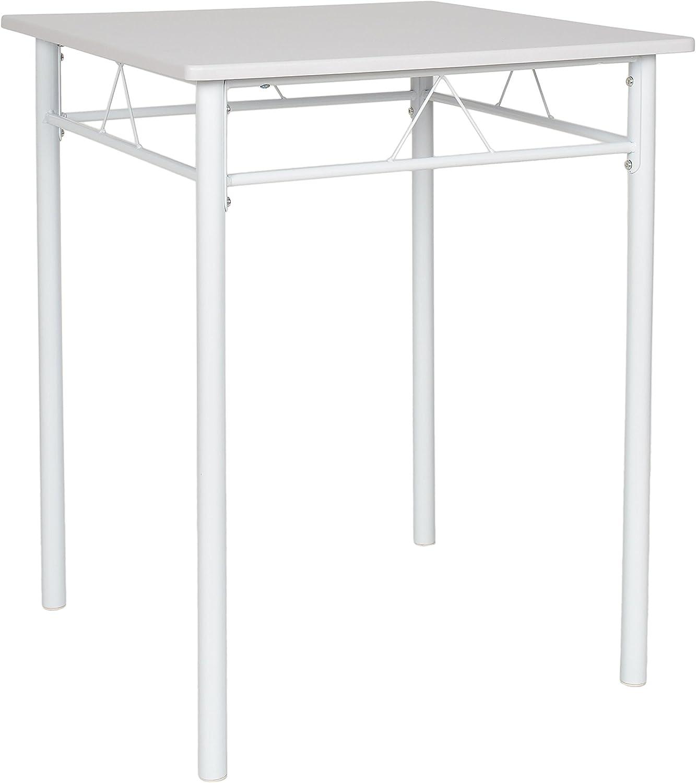 ts-ideen Juego de 3 Piezas Comedor Mesa y sillas para la Cocina Marco de Metal MDF Blanco 74 x 60 cm: Amazon.es: Hogar