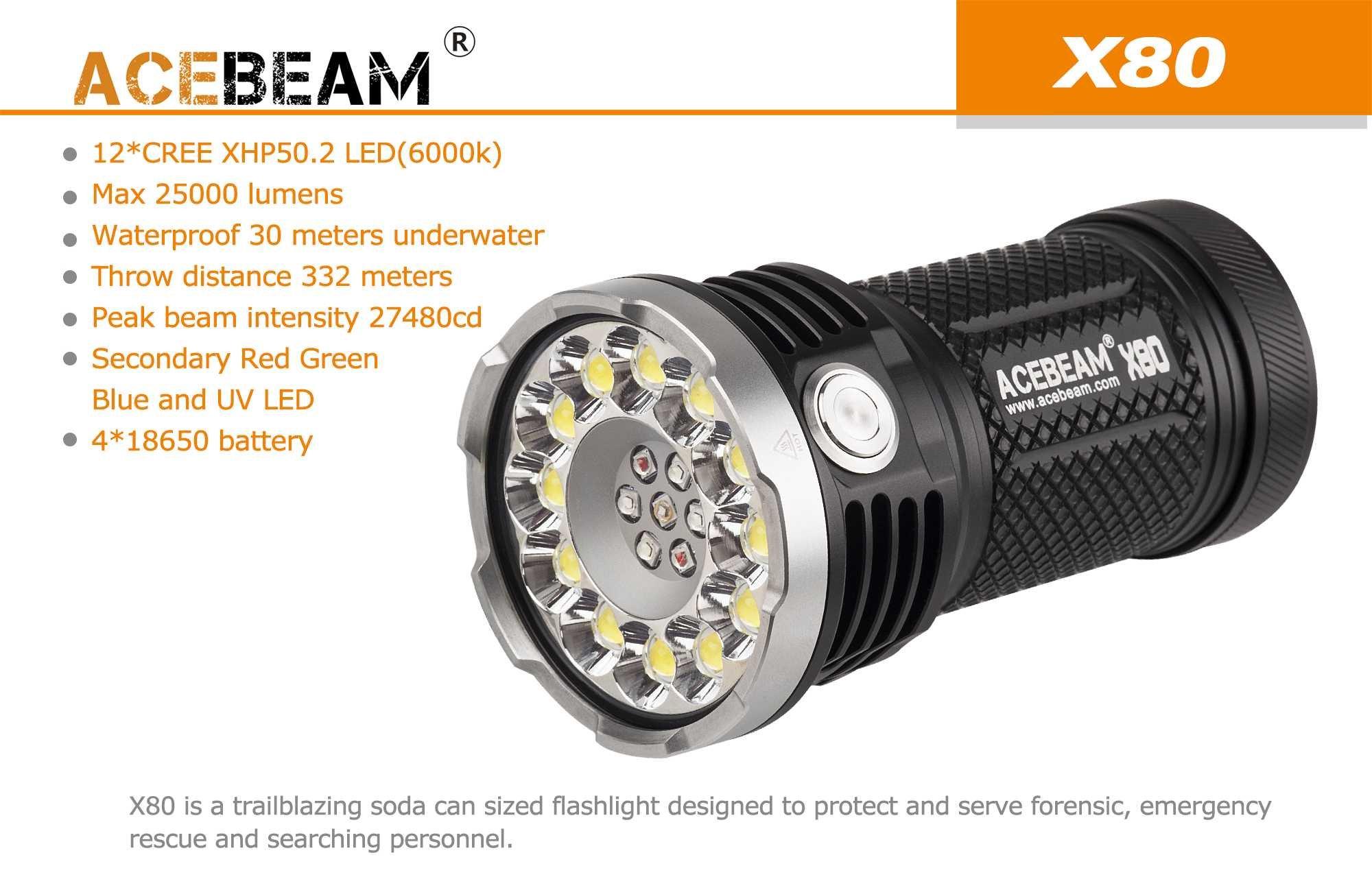 ACEBEAM X80 LED Flashlight 12x Cree XHP50.2 25000 Lumens 5-color Light Beam Flashlights Included 4 3100mah Batteries by Acebeam (Image #5)