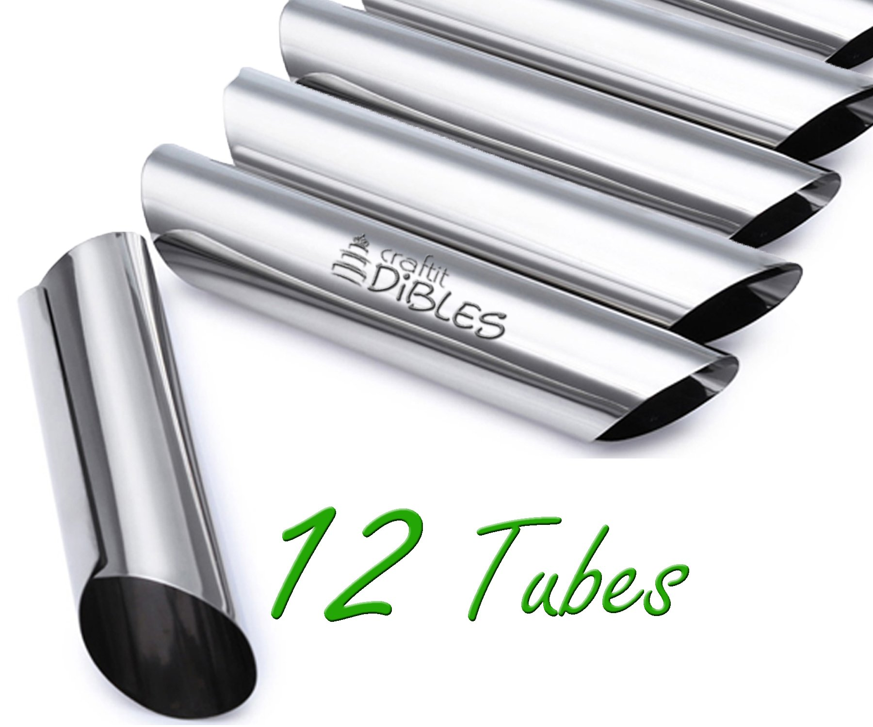 Cannoli Tubes by CiE. Set of 12 stainless steel Cannoli Forms pastry molds. Diagonal shaped by Craftit Edibles