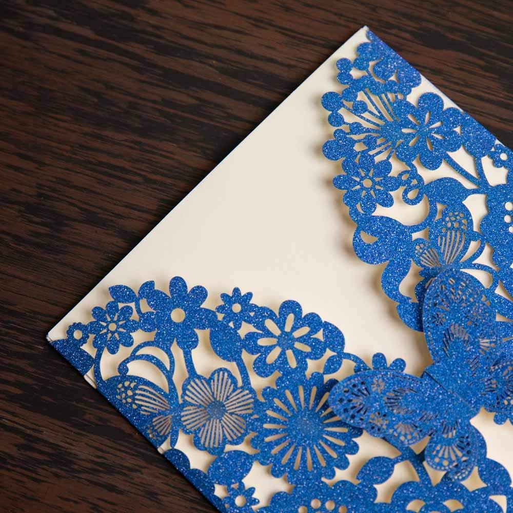 Amazon.com: Wishmade 50x Royal Blue Glitter Laser Cut Wedding Invitations  Cards with Butterfly Lace Flower Design for Birthday Party Favor Supplies  (Set of 50pcs): Health & Personal Care