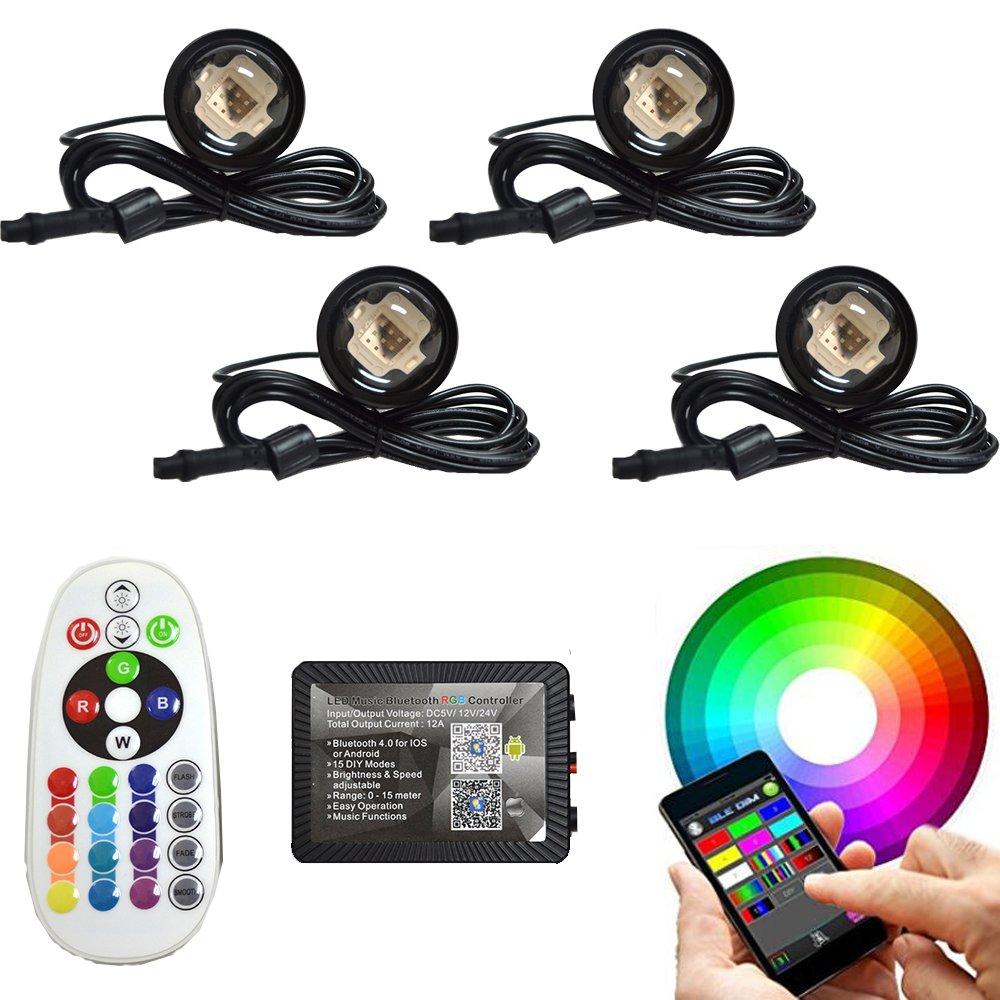 4pc RGB 108W COB LED Boat Light Pod LED BlueTooth Music Apps Control Million Color Marine Bolt Light