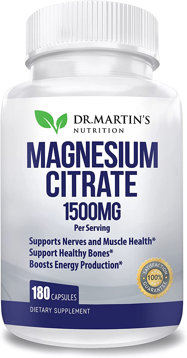 Premium Magnesium Citrate 1500mg -   Easy Absorbable   180 High Potency Capsules   Helps with Stress Relief, Sleep, Muscle Cramps, Healthy Bones & Healthy Heart   (180 Count)