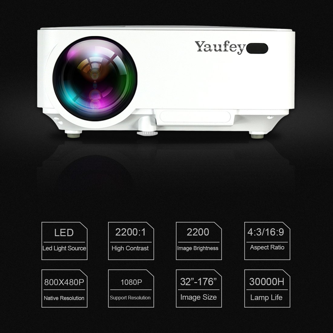 Laptop Projector, Yaufey Digital Video Projector Support 1080P for Home Cinema TV Laptop Game iPhone Android Smartphone with HDMI Cable (2018 Upgraded Version) by Yaufey (Image #4)