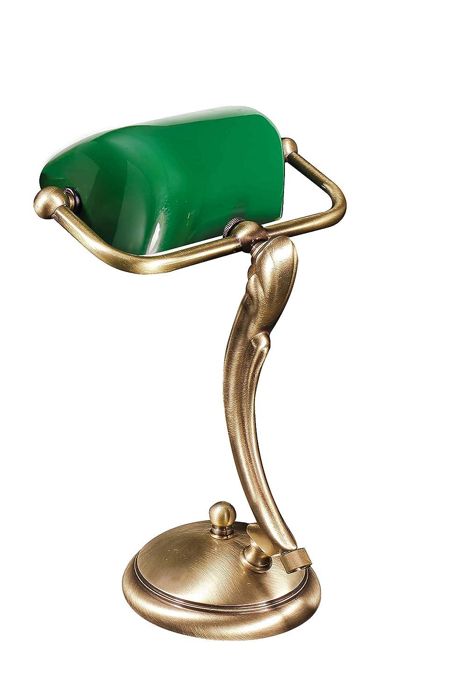 Bankerlampe Bronze Hell Jugendstil E14 bis 60W Echt-Messing Handarbeit Glas Grün Tischleuchte Schreibtisch