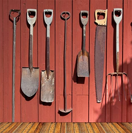 CSFOTO 5x5ft Background For Gardening Tools Hanging On Wall Farm Implements  Photography Backdrop Garden Gardener Farm