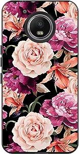 POKABOO Moto E4 Plus Case (USA Version), Motorola Moto E4 Plus Case Rose Floral, Slim Black Lightweight Soft TPU Anti-Scratch Shockproof Protective Phone Case for Moto E4 Plus